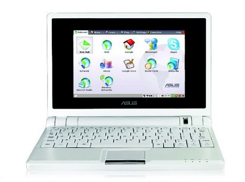 The simplified Linux tabbed desktop on the EEE PC