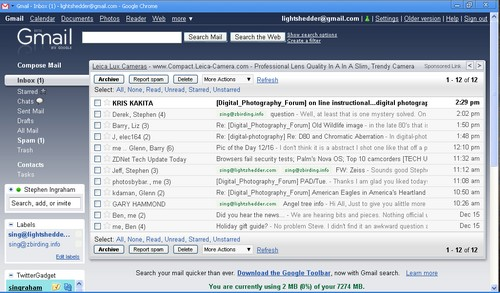 GMail running as a stand alone app from Google Chrome