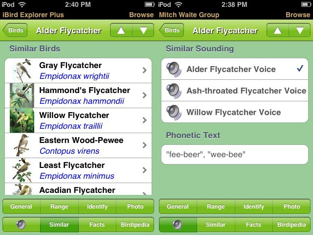 Where species are similar, either by sight or by sound, iBird lists the species you might confuse for easy access.