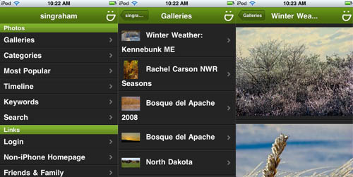 SmugMug/iPhone showing account interface, gallery list, and gallery page.