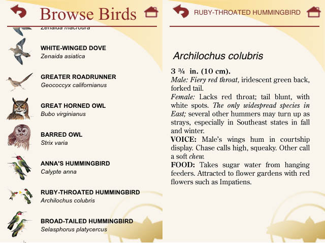 The browse screen (taxonomic order) and Species text