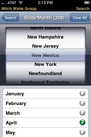 State and Month Search