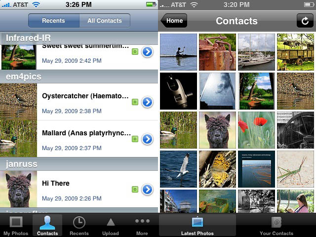 Darkslide: list view, Mobile Foto: grid view of contact's recent images