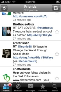 Links highlighted and live in Twitterfon's list view