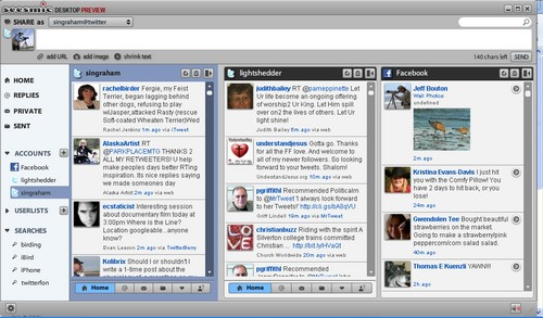 Seesmic Desktop Preview: Twitter accounts and Facebook in one app.