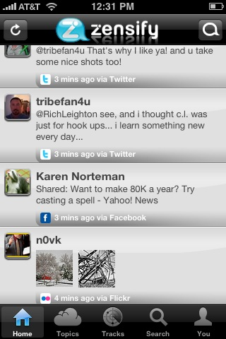 Twitter, Facebook, and Flickr in the same list on the same app: Zensify