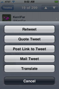 Tweet view action options